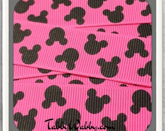 "Mickey Mouse heads 2 yards on Hot Pink 7/8"" grosgrain ribbon  TWRH"