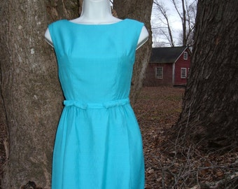 60s Blue Wiggle Dress XS Cocktail Party Sleeveless Sundress with Bows 32B Vintage 1960s
