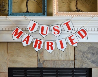 Just Married wedding party pennant banner, rustic celebration decor decorations
