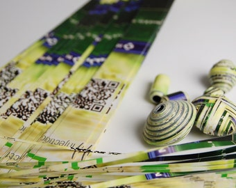 Green/Blue Recycled paper for making paper beads Extra Long over 125 Strips