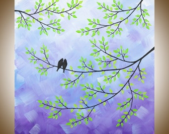"""Square art Purple art green art white wall Art  wall decor canvas art Textured Tree love Birds painting """"Misty Morning II"""" by QIQIGALLEY"""