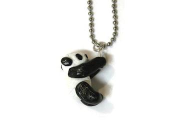 Hanging Panda Bear Necklace, Polymer Clay Jewlery