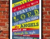 Now I Lay Me Down to Sleep Prayer, Christian Art print, Boy, Bedroom, Baby Boy, Blue & Red, Christian Art, Baptism Gift, Christening Gift