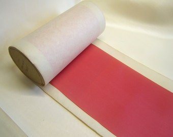 "Vintage Rayon Ribbon 4 1/4"" Wide on Paper Spool Deep Coral"