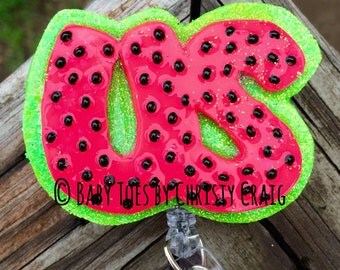 August Watermelon Badge Holder - Seasonal