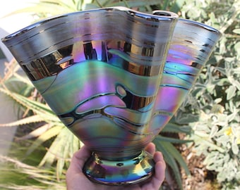 Rainbow-Fluted Glass Bowl - Hand Blown - Free Shipping