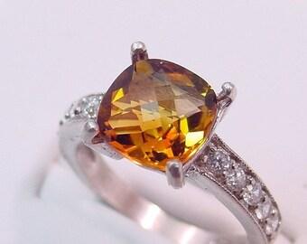 Golden Citrine 2.62 Carat 14K White gold diamond (.30ct) Ring 0128 MMM