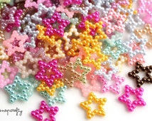 75pcs decoden pearl star shapes mix / embellishments for diy jewelry and decoden designs /10 grams