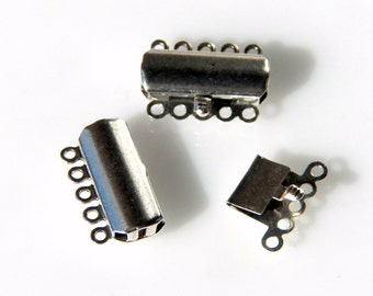 5 Strand Box Clasp in Antique Silver or Brass  20x15x4mm (2)