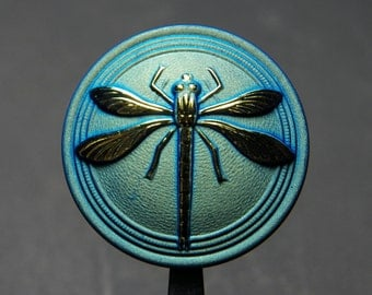 Matte Black AB with Gold Dragonfly 18mm Czech Glass Round Button with Brass Shank (1)