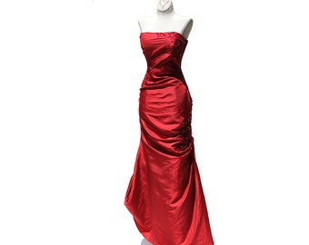 Strap Less Red Satin Evening Dress