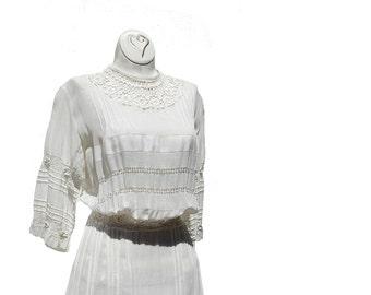 White Linen Gauge Wedding Maxi Dress