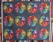 EX LIBRIS Charcoal Grey PANEL Andover Fabrics - Cotton Quilt Fabric by the Yard Art Theory by  Alison Glass - 6 Colorful Patterned Circles