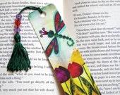 Dragonfly & Tulips Beaded Waterproof Bookmark by Sandra Vargas - Spring Bookmark