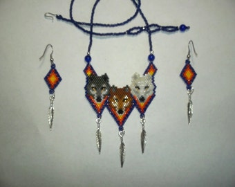 Brick Stitch 3 Wolf/Wolves Delica Seed Beading Pendant  Earrings PDF E-File Pattern-448