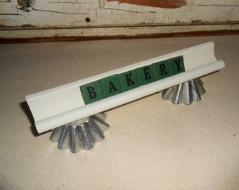 "Vintage "" BAKERY ""  Sign with Anagrams Letters with Tart Tins"