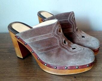 Light Brown Suede Via Spiga Platform Heel Clogs with Cut Out Details 9