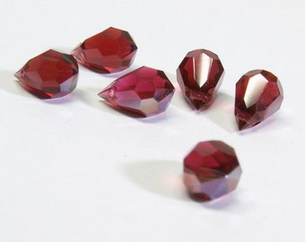 Pomegranate Red AB Teardrop Crystal Fuchsia Briolette Beads - 6 pieces