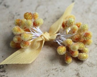 NEW! Daffodil Yellow Sugar Stamen Bundle - Spring Easter Millinery Stamens - Double Ended Stamens - Wedding Corsage Making Supplies