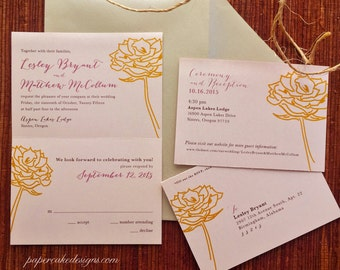 eco-friendly wedding invitation suite / tear-off RSVP postcard  / 5 x 7 Floral
