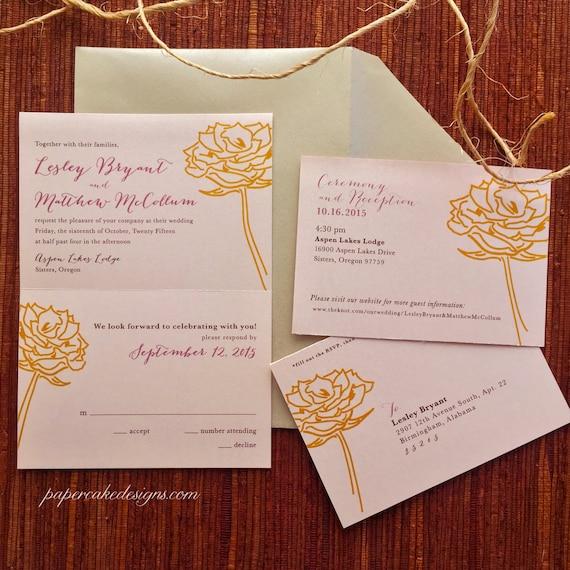 eco-friendly wedding invitation suite / tear-off RSVP postcard  / 5 x 7 Floral