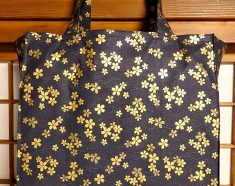 Gold Cherry Blossom Tote Bag, Japanese Cherry Blossoms on Black Waves TIGHT 'N' TIDY Tote Reusable Foldable Shopping Bag, Black Gold Gray