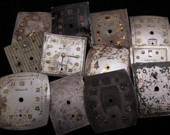 Vintage Antique Watch Dials Steampunk  Faces Parts Mixed Media Assemblage Scrapbooking L 56