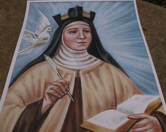 "St Therese of Avila, Doctor of the Catholic Church, 8""x10"" & 11""x14"" Prints on White Card Stock W/Envelopes, Image taken from my Painting"