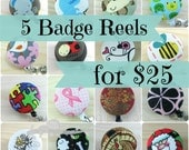 Retractable Badge Holder - Any 5 Fabric Badge Reels for 25 dollars Value Pack Scissor Holder Fob Lanyard