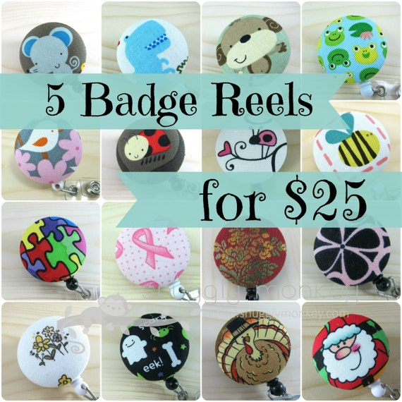 Retractable Badge Holder - Any 5 Fabric Badge Reels for 25 dollars Value Pack Scissor Holder Fob Lanyard