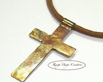 Copper Cross Pendant Necklace, Rustic Christian Jewelry, Tan Leather Cord