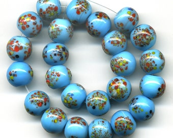 Vintage Blue Beads 8mm Colorful Speckled Glass Rounds 24 Pcs.