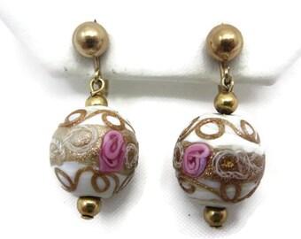 Wedding Cake Bead Earrings - Murano Glass, White, Pink Roses, Zanfirico, Screw Back