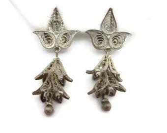 Boho Jewelry - Filigree Earrings, Bell Flower, Boho Earrings, Silver Filigree, Clip Earrings, Chandelier Earrings