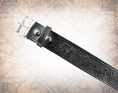 Norse Rabbits Belt - Wide Black - Black Leather Belt, Norse Leather Belt, Mens Leather Belt, Women's Leather Belt, Genuine Leather Belt