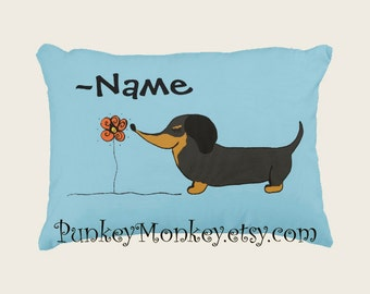 Custom toss pillow Doxie dog lovers sunflower pillow personalized or not