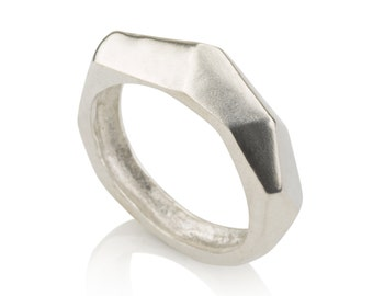 Faceted Ring , Geometric Sterling Silver Ring, Statment Ring , Asymmetrical Ring , Facet ring