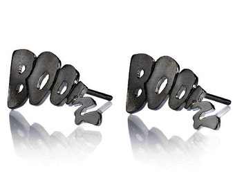 BOOM Earrings , Oxidised Silver Stud Earrings , Geek Earrings , Black Silver Stud Earrings , Comic Book Earrings , Hipster Earrings