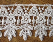 1 Yard Venise Lace Ivory Double Row Flower Ribbon Trim 2 1/2 Inch Wide Rosebud Roses