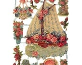 Glittered Scraps Boat Made In Germany Die Cut Valentine Pink Roses  G7223G