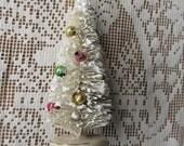 4 Inch Ivory Bottle Brush Christmas Tree Vintage Mercury Glass Beads
