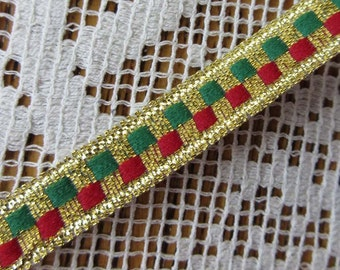 2 Yards Narrow 3/8 Inch Vintage Metallic Trim In Gold With Red And Green Old Store Stock  C-2