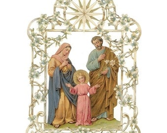 Germany Large Lithograph Die Cut Paper Scrap Holy Family  S453