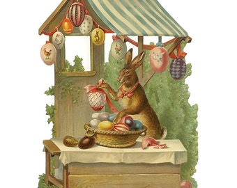 Germany Large Single Lithographed Die Cut Paper Scrap Victorian Easter Rabbit With Eggs  5130
