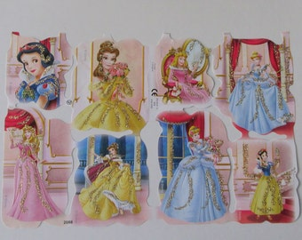 England Disney Snow White Princesses Die Cut Glittered Paper Scraps  2088