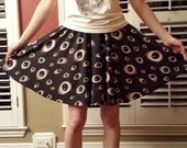 Skater Skirt - Goth / Horror Creepy Eyeball Pattern Black Skirt - One Size Fits Most Skater Skirt