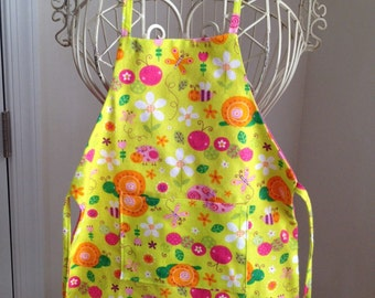 Children Apron Full Body Smock Yellow Flowers Snail with Pocket