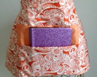 Vendor Waist Half Apron Teacher Craft iPad Device Orange White Fabric (4 Pockets)