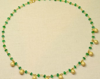 Fine Emerald Rondelle 18k 14k Solid Yellow Gold Necklace 16.5INCH