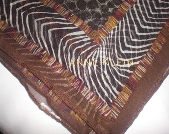 Exotic Anne Klein Silk Scarf in Brown and Black Animal Print